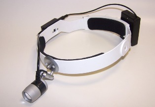 LED - headlight  with small battery box on headband